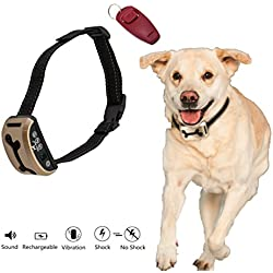 New And Improved 2018 Rechargeable No Bark Collar- Smart Detection Dual Anti-Barking Modes: Beep+Vibration/Shock for Sm, Med, Lg Dogs. 100% Waterproof, Includes Red Dog Clicker and FREE E-BOOK