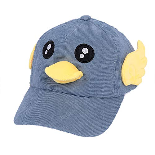 Cute Cartoon Baseball Cap,Crytech Kid's Lovely Ducky Patch Dad Hat with Wings Foldable Embroidery Bucket Hat Fashion Outdoors Sun Visor Sunhat for Teen Girls Boys (Blue)