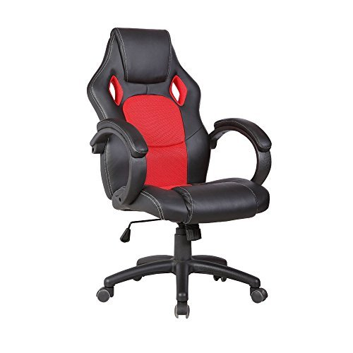 OFFICE MORE Leather Executive Chair Swivel Office Desk Chair Race Car Style Bucket Seat High Back ,Red