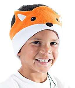 CozyPhones Kids Headphones Volume Limited with Ultra-Thin Speakers & Super Comfortable Soft Fleece Headband - Perfect Children's Earphones for Home and Travel - FOX