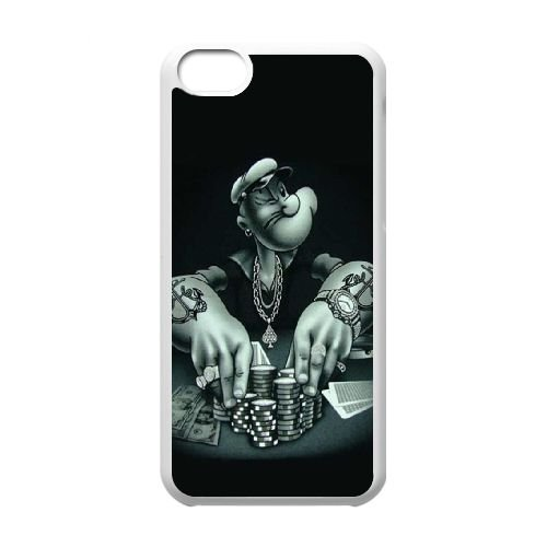 (CXED) Popeye black iPhone 5c Cell Phone Case White