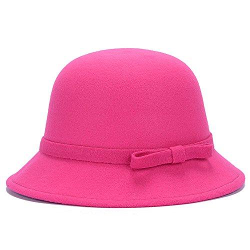 Vintage Ladies Womens Hat - Magik Women Lady Vintage Wool Round Fedora Bow Cloche Derb Felt Bowler Cap Hat (Hot Pink)