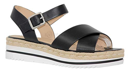 (MVE Shoes Women's Spadrille Flatform Strappy Open Toe, Picnic BLK/WHT PU 8)