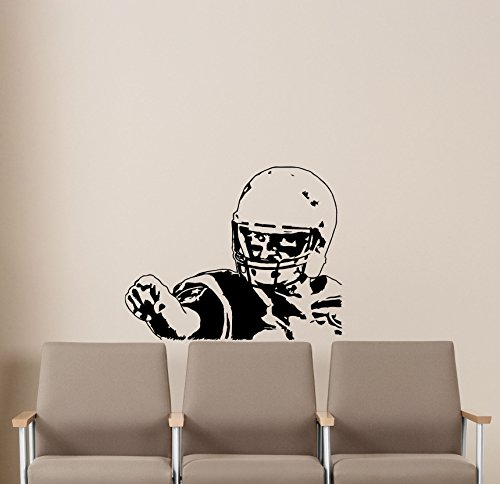 Tom Brady Wall Decals New England Patriots Player NFL AFL AFC Gym Sports American Football Club Emblem Kids Children Poster Stencil Decor Sports Vinyl Sticker Home Art Design Removable Mural 68i