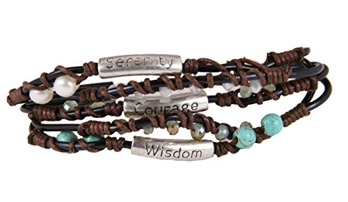 4030330 Serenity Prayer Wrap Cord Beaded Bracelet AA 12 Step One Day At A Time by Christian Bracelets