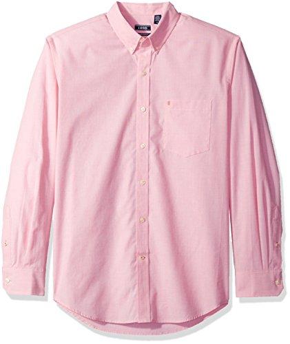 IZOD Essential Solid Camisa de Manga Larga (Ajuste Regular y Delgado) para Hombre, Rosa (Rapture Rose), Small Delgado