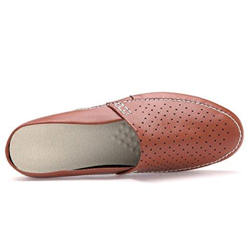 CHT Hueco Zapatos De Los Hombres De Las Sandalias De Verano Perezoso Zapatillas Brown