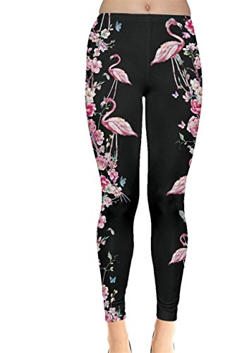 CowCow Womens Vintage Flowers Flamingo Theme Leggings - S