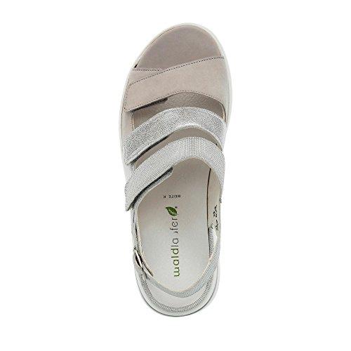 Waldläufer 673003 301 013 Damen Sandale Aus Nubukleder Lederinnenausstattung Grau/Silber