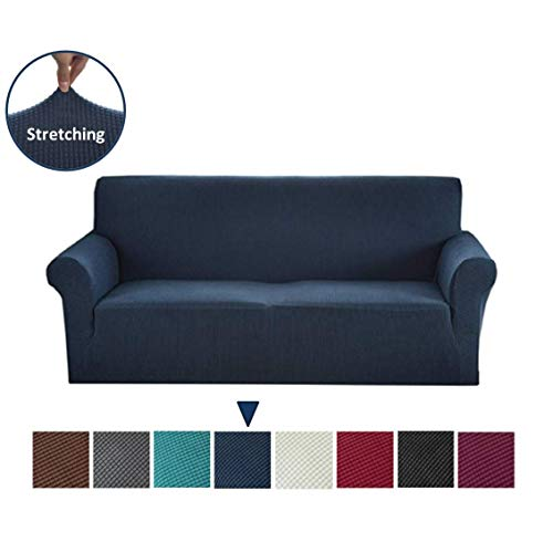 Argstar Jacquard Sofa Slipcover Couch Cover for Living Room Soft Elastic Navy Blue