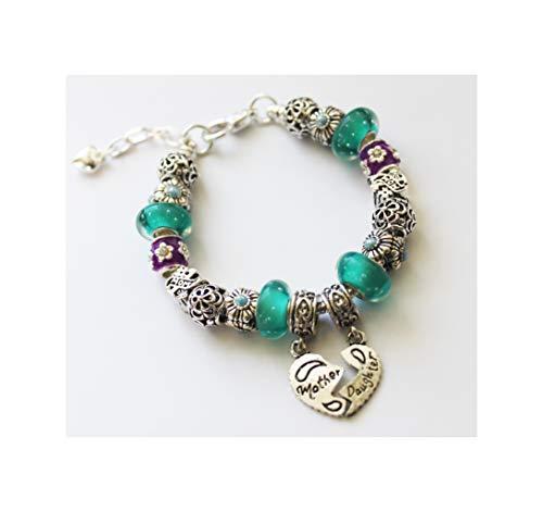 - Number 1 Mom Dangle Bead Charm Bracelet-Mother Daughter Bracelet - Mothers Day Jewelry Gift-Pandora Style Charm Bracelet