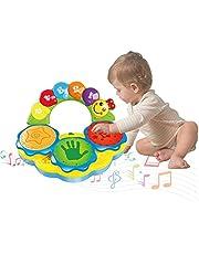 Felly Baby-muziekspeelgoed voor 12 maanden Draagbaar muziekspeelgoed voor baby's Handtrommel Muziekinstrument Speelgoed Vroege educatieve muziek / Licht / grappige geluiden Speelgoed voor 1 2 3 4 jaar oud