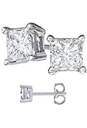 925 Sterling Silver Stud Earrings Princess Cut Cubic Zirconia AAAAA quality (1.5 carats)