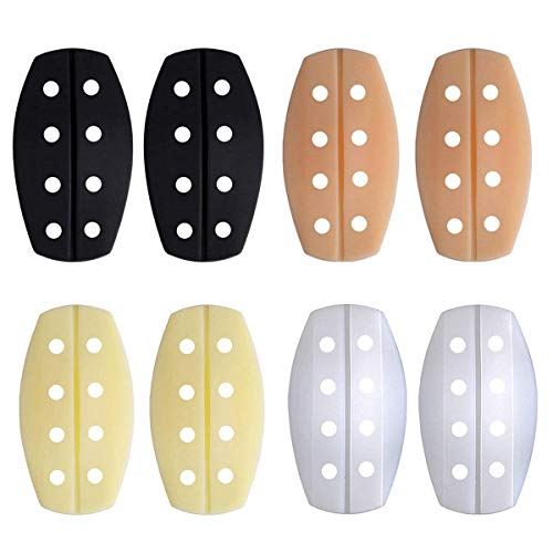 Bra Strap Cushions - Women's Soft Silicone Bra Strap Cushions Holder Non-slip Shoulder Protectors Pads (1Pair, 4 Colors Breathability-(Black+Beige+White+Carnation))