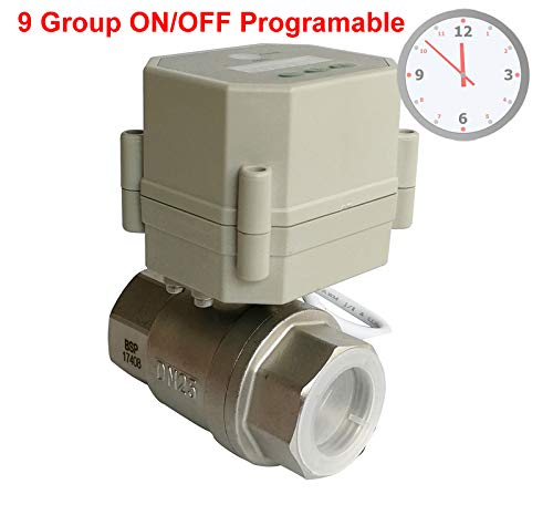 Fincos 1'' Clock Timer Control Valve,110V-240VAC Timer Controlled Motorized Valve with 9 Group programing
