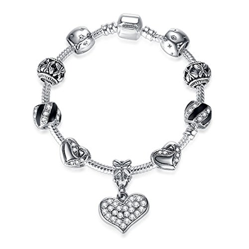 Authentic 925 Enamel Silver Crystal Beads Charms For Women With Safety Chain Bracelet Bangle Mother's Day Gift PS3839 20cm