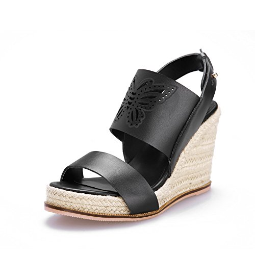 Amoonyfashion Donna Materiale Morbido Open Toe Fibbia Sandali Solidi Fibbia Nero