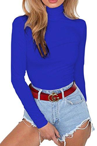 (Almaree Womens High Neck Long Sleeve Solid Color Leotard Fleece Lined Bodysuit Navy S)