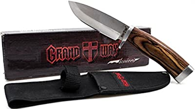 Fixed Blade Knife with Wood Handle for Hunting and Fishing - Good for Camping and Travels - Dependable Knife for Survival