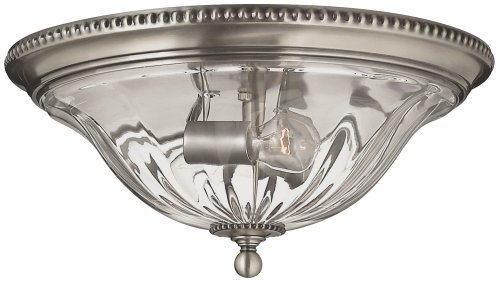 Hinkley 3616PW Traditional Two Light Flush Mount from Cambridge collection in Pwt, Nckl, B/S, (Hinkley Oxford Collection)