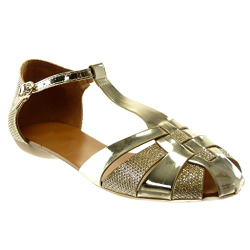 Correa Angkorly Tacón Ancho Sandalias 5 Oro Correa Mujer Moda Tanga Brillantes cm de Patentes Zapatillas Tobillo Gladiator 1 wHH4qnI1