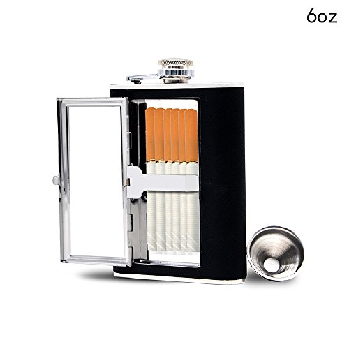 Sunnyac Portable stainless steel hip flask with cigarette case,Durable and convenient,Black (6 oz)