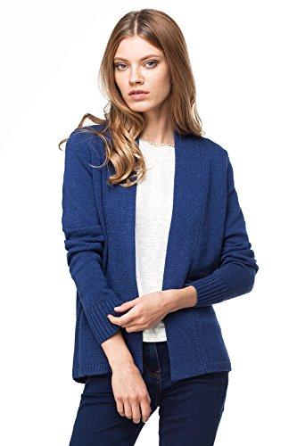 VILATTE Women's Open Front Long Sleeve Knit Cardigan Sweater (2XL(18), Navy Melange)