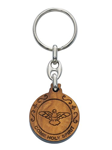 OLIVE WOOD SEVEN GIFT KEY RING, OLIVE WOOD HOLY SPIRIT KEY RING WITH SEVEN GIFTS ON THE BACK, MADE IN ITALY, BOXED DIMENSION: 1 1/4' DIAMETER