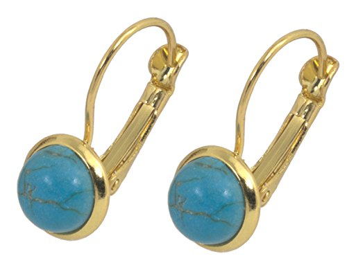Earrings, Gold Plated Turquoise Magnesite Gemstone Leverback Earrings + FREE GIFT BAG ()