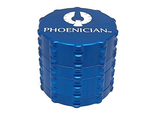 Phoenician Grinders Herb Spice Grinder - 4 Piece Anodized Aluminum Set - Official Phoenician Grinders Made in USA - Medium (Ocean Blue)