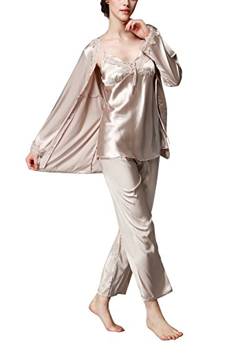 Dolamen Pijamas para mujer, Pijamas Mujer invierno Verano, 3-in-1 Mujer camisones, Satén suave y cálido Manga larga y pantalones largos, Mujer largo Camisones raso Satin Pijamas Oro