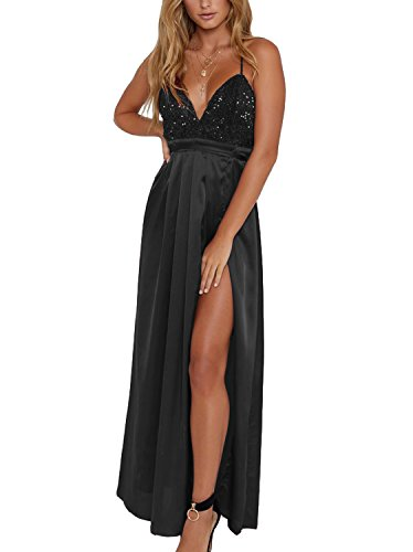 Yimeili Women's Sexy Deep V Neck Backless Split Maxi Cocktail Long Party Dresses (S, Black Sequin)