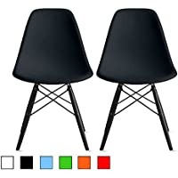2xhome - Set of Two (2) Black - Eames Style Molded Plastic Shell Bedroom Dining Side Ray Chair with Black Wood Eiffel Dowel-legs Base Nature Legs No Side