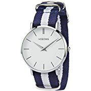 Amazon Lightning Deal 100% claimed: Voeons Men's Casual Quartz Wrist Watch with Striped Nylon Band