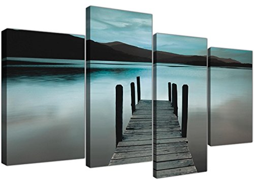 Framed Lake Print (Wallfillers Teal Grey Coloured Lake Jetty View Landscape Canvas - 4 Part Set - 51 Inches Wide - 4237)