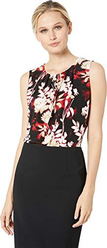 Calvin Klein Women's Printed Pleat Neck Cami Red Multi Large