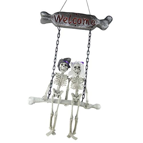 Prettyia Scary Halloween Skeleton Bride Groom Hanging Ghost Welcome Sign Wall Door Haunted House Prop -