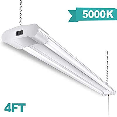 Linkable LED Shop Light for Garages 4FT 5000K Daylight White LED Ceiling Light with Pull Chain for Garages Workbench Basement Warehouses