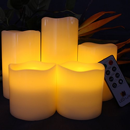LED Lytes Battery Operated Candles - Large Flameless Candles Set of 5 Round Ivory Wax with Flickering Amber Yellow Flame, auto-Off Timer Remote Control Fake Candle by LED Lytes (Image #2)