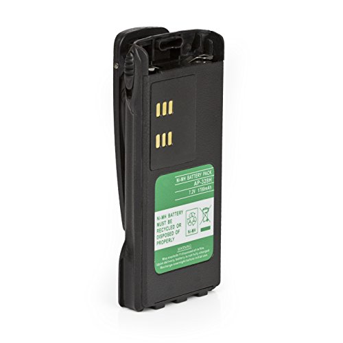 Hi-Capacity Battery for Motorola HT750 HT1250 PRO5150 GP328 7.2 NI-MH 1700mAh with Belt Clip and Warrant (Non-OEM)