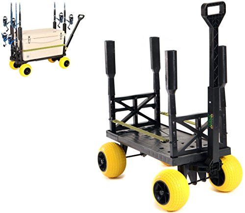 Surf Fishing Cart Wagon with Wheels for Sand Fish Pole Rod Holder Saltwater Gear (Yellow)