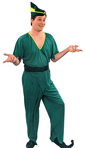 UHC Men's Peter Pan Elf Robin Hood Outfit Holiday Theme Party Fancy Costume, OS