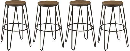 - BTEXPERT 5082-4 Round Bistro Dining Chair Stools, 30, Kate and Laurel Tully Backless Modern Wood