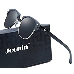 Joopin Semi Rimless Polarized Sunglasses Women Men Brand Vintage Glasses Plaroid Lens Sun Glasses (Brilliant Black Frame Grey Lens)