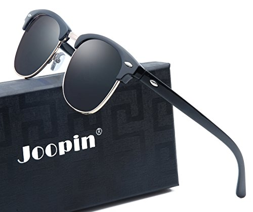 Joopin Semi Rimless Polarized Sunglasses Women Men Brand Vintage Glasses Plaroid Lens Sun Glasses (Brilliant Black Frame Grey - Men Sunglass