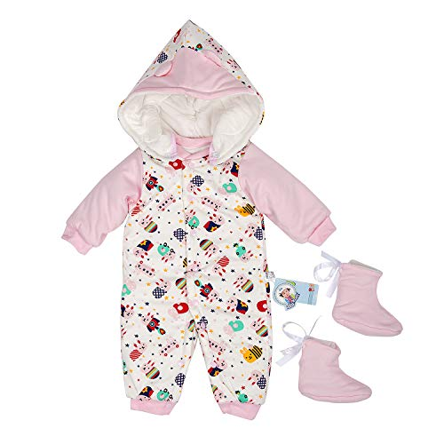 Newborn Snowsuit Baby Girl Winter Clothes, Infant Babies Girl Romper Detachable Hood with Shoes (7-9 Months) by Rasmee