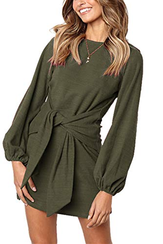 onlypuff Casual Fall Dress for Women Puff Sleeve Olive Green Casual Tunics Solid Tie Front XL ()