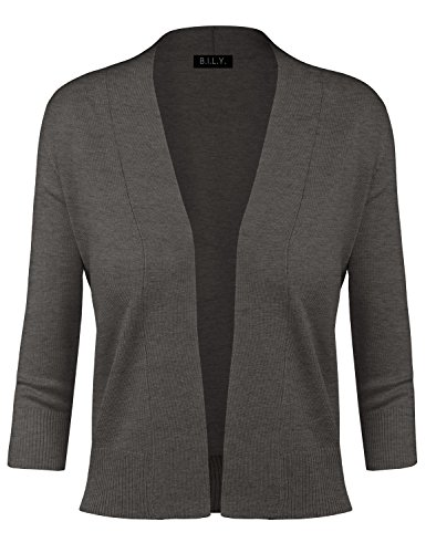 BH B.I.L.Y USA Women's Classic Open Front Cropped Cardigan Charcoal Medium Charcoal Cropped Sleeve Jacket