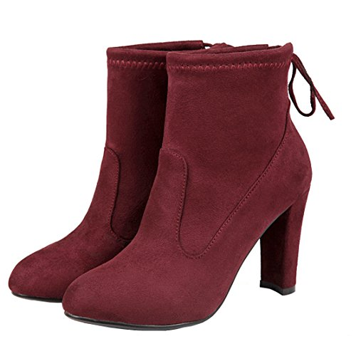 Thick Heel Suede Women's AIYOUMEI Solid Autumn Bootie Red Winter Lace Block Heels Ankle Boots Up w7wxqHP