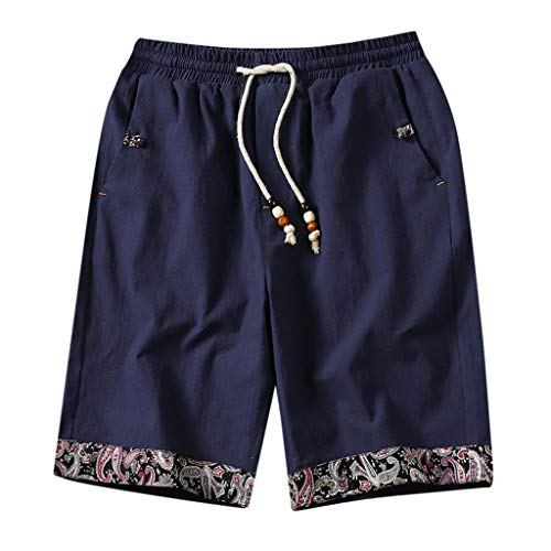 NRUTUP Linen Causal Beach Shorts with Elastic Waist Drawstring Lightweight Slim Fit Summer Short Pants with Pockets
